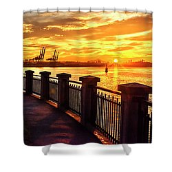 Shower Curtain featuring the photograph Sunrise At The Harbor by John Poon
