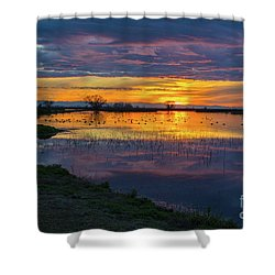 Sunrise At The Merced National Wildlife Refuge Shower Curtain