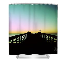 Sunrise At The Myrtle Beach State Park Pier In South Carolina Us Shower Curtain by Vizual Studio