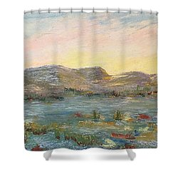 Sunrise At The Pond Shower Curtain