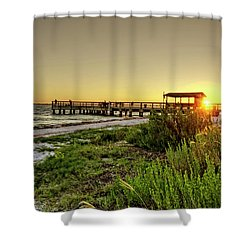 Shower Curtain featuring the photograph Sunrise At The Sanibel Island Pier by Chrystal Mimbs