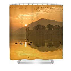 Shower Curtain featuring the photograph Sunrise At Water Palace by Yew Kwang