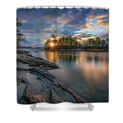 Sunrise At Wolfe's Neck Woods Shower Curtain by Rick Berk