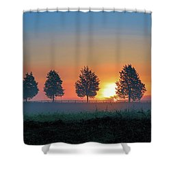 Shower Curtain featuring the photograph Sunrise Behind The Cedars by Lori Coleman
