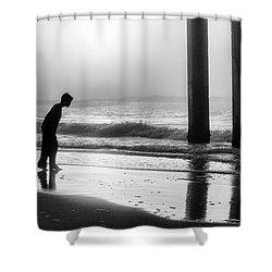 Shower Curtain featuring the photograph Sunrise Boy In Foggy Beach by John McGraw