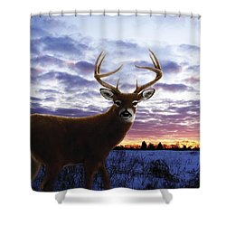Sunrise Buck Shower Curtain by Barbara Hymer