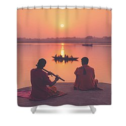 Sunrise By The Ganges Shower Curtain by Marji Lang