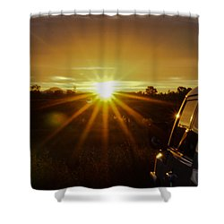 Shower Curtain featuring the photograph Sunrise And My Ride by Jeremy McKay