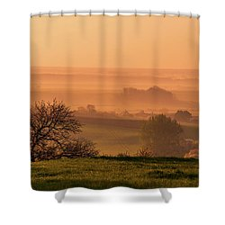 Shower Curtain featuring the photograph Sunrise Foggy Valley by Jenny Rainbow