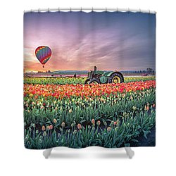 Shower Curtain featuring the photograph Sunrise, Hot Air Balloon And Moon Over The Tulip Field by William Lee