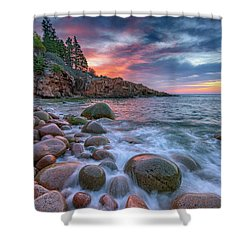 Sunrise In Monument Cove Shower Curtain by Rick Berk