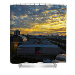 Shower Curtain featuring the photograph Sunrise In Osaka by Pravine Chester