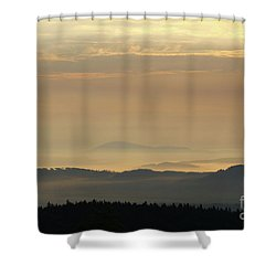 Sunrise In The Mountains - Hills In Morning Mist Shower Curtain by Michal Boubin