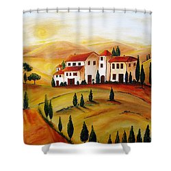 Sunrise In Tuscany Shower Curtain by Christine Huwer