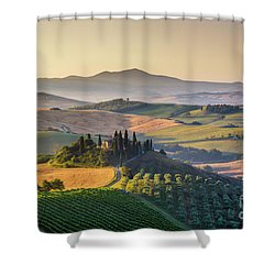 Sunrise In Tuscany Shower Curtain by JR Photography