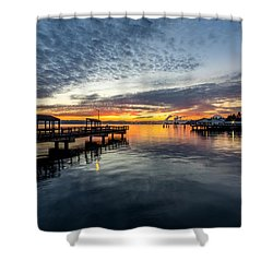 Shower Curtain featuring the photograph Sunrise Less Davice Pier by Rob Green