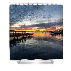 Sunrise Less Davice Pier Shower Curtain