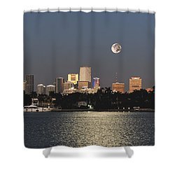 Sunrise Moon Over Miami Shower Curtain