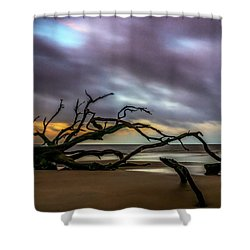 Shower Curtain featuring the photograph Sunrise On Driftwood Beach, Jekyll Island, Ga by Michael Sussman