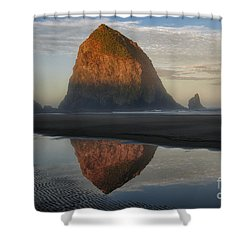 Sunrise On Haystack Rock - Oregon Shower Curtain