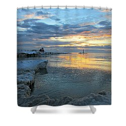 Shower Curtain featuring the photograph Sunrise On Ice by Greta Larson Photography