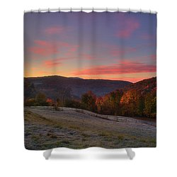 Shower Curtain featuring the photograph Sunrise On Jenne Farm - Vermont Autumn by Joann Vitali