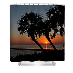 Shower Curtain featuring the photograph Sunrise On Pleasure Island by Judy Vincent
