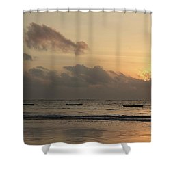 Sunrise On The Beach With Wooden Dhows Shower Curtain