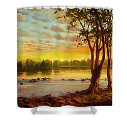 Shower Curtain featuring the painting Sunrise On The Columbia by Steve Henderson