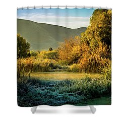 Shower Curtain featuring the photograph Sunrise On The Duck Marsh by TL Mair