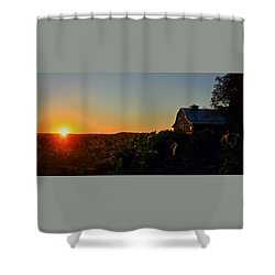 Shower Curtain featuring the photograph Sunrise On The Farm by Chris Berry