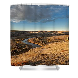 Shower Curtain featuring the photograph Sunrise On The Milk River by Fran Riley