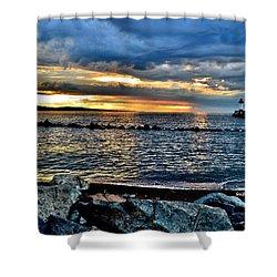 Sunrise On The Rocks Shower Curtain