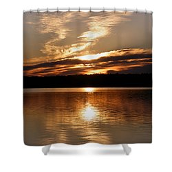 Sunrise On The Turtle Flambeau Flowage Shower Curtain by Angie Rea