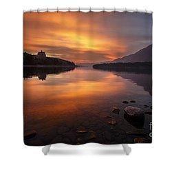 Sunrise On Waterton Lake Shower Curtain by Dennis Hedberg