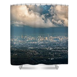 Shower Curtain featuring the photograph Sunrise Over A Cloudy Brisbane by Parker Cunningham