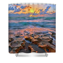 Sunrise Over Carlin Park In Jupiter Florida Shower Curtain by Justin Kelefas