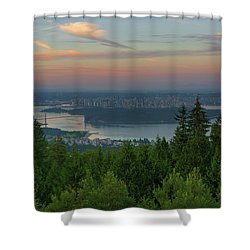 Sunrise Over City Of Vancouver Bc Canada Shower Curtain by David Gn