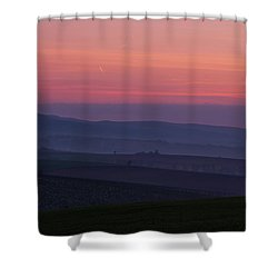 Shower Curtain featuring the photograph Sunrise Over Hills Of Moravian Tuscany by Jenny Rainbow