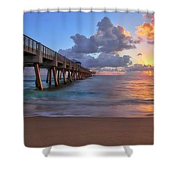 Sunrise Over Juno Beach Pier In Florida Shower Curtain