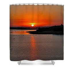 Shower Curtain featuring the photograph Sunrise Over Lake Ray Hubbard by Diana Mary Sharpton
