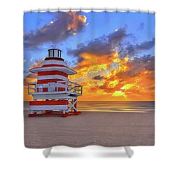 Sunrise Over Lifegaurd Stand On South Miami Beach  Shower Curtain by Justin Kelefas