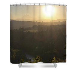 Sunrise Over Mount Hood And Sandy River Shower Curtain by David Gn