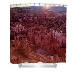 Shower Curtain featuring the photograph Sunrise Over The Hoodoos Bryce Canyon National Park by Dave Welling