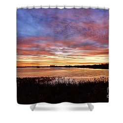 Shower Curtain featuring the photograph Sunrise Over The Marsh by Larry Ricker