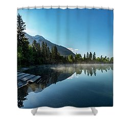 Shower Curtain featuring the photograph Sunrise Over The Mountain And Through The Tree by Darcy Michaelchuk
