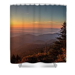 Shower Curtain featuring the photograph Sunrise Over The Smoky's V by Douglas Stucky
