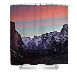 Sunrise Over Yosemite Valley In Winter Shower Curtain
