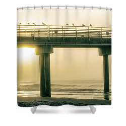 Shower Curtain featuring the photograph Sunrise Pier In Alabama  by John McGraw