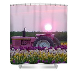 Sunrise Pink Greets John Deere Tractor Shower Curtain